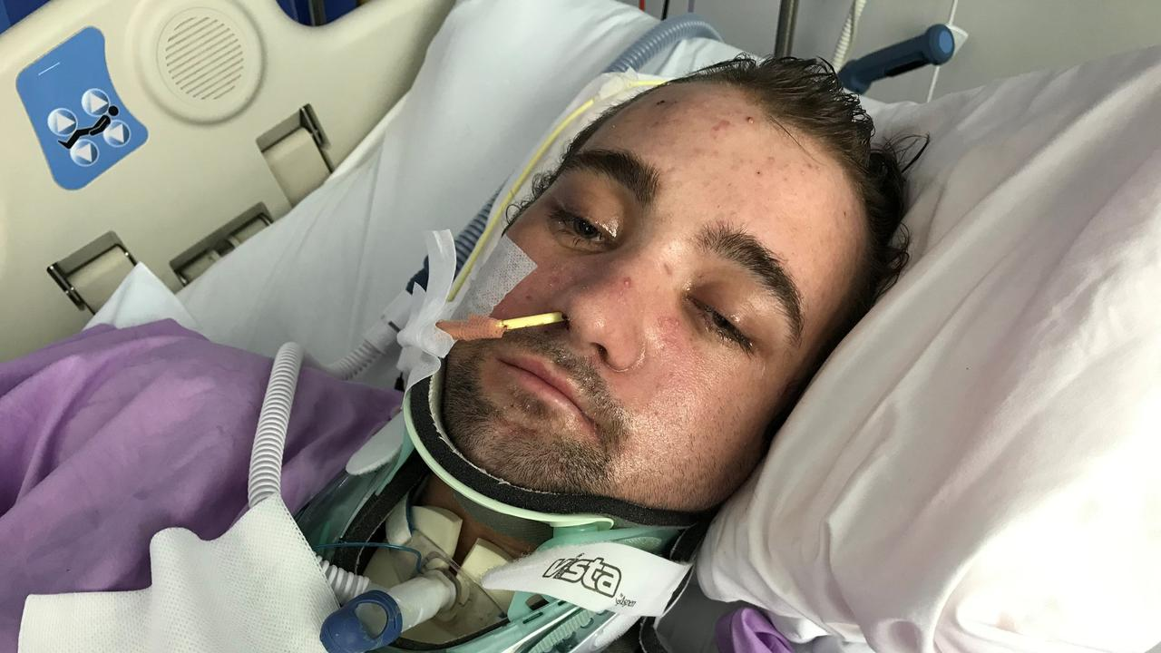 21-year-old Caloundra man Chris Brace in a Brisbane hospital fighting for his life after a horrible accident on Aerodrome Road in Maroochydore in January.