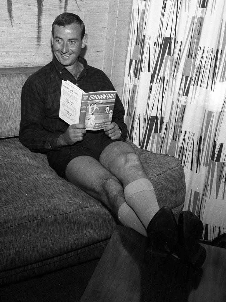 Meckiff looks back over his prophetically titled autobiography Thrown Out while relaxing in his Brisbane hotel room.