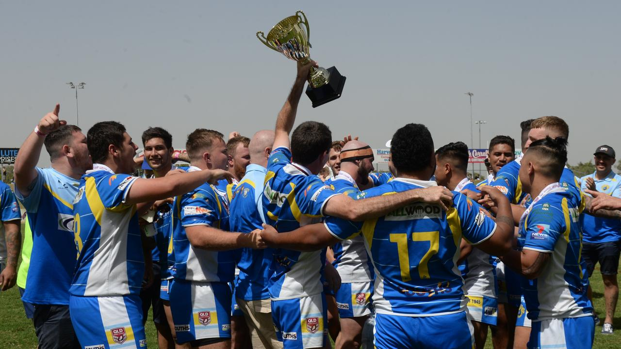 Souths Sharks reserve grade side celebrate their grand final win against Wests Tigers.