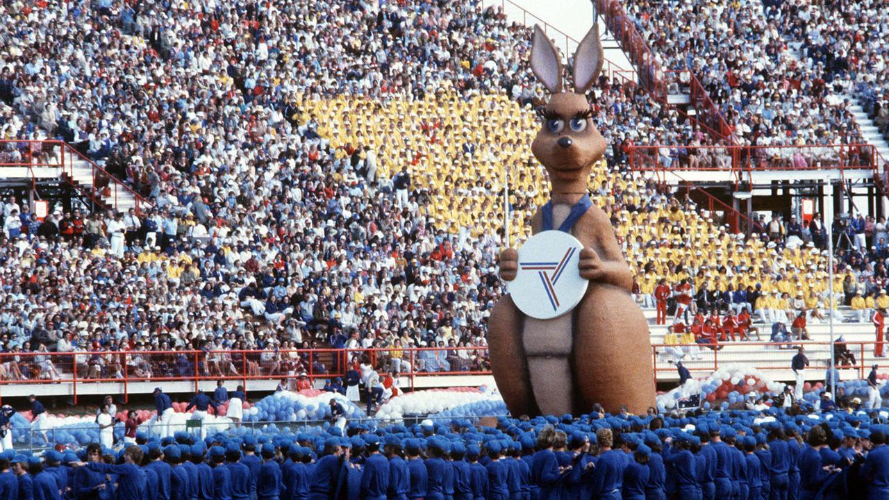 Mascot Matilda the Kangaroo glides around the track at the opening ceremony.