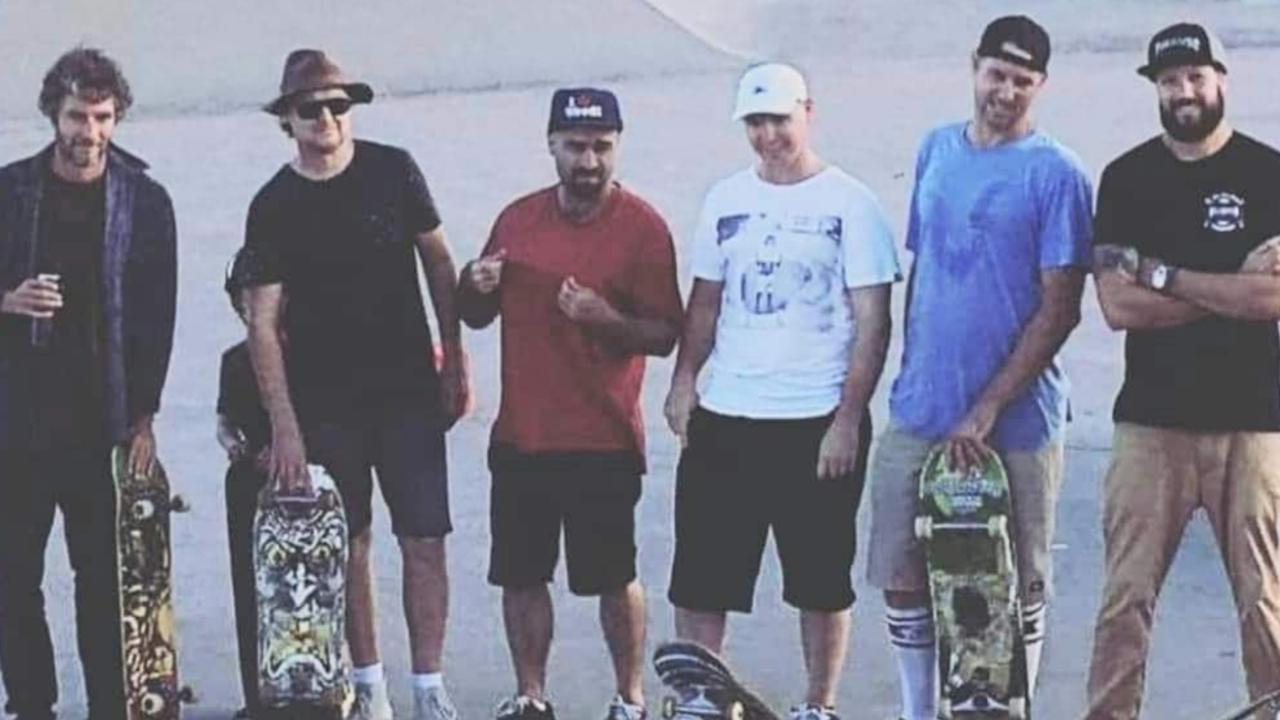 Tait Nelson, Darren Minchenton, Gutty Mitchell, Brett Reedman, Cameron Nolan and Leon Mollenhauer having a last skate together at Alex Skate Park before it was demolished.
