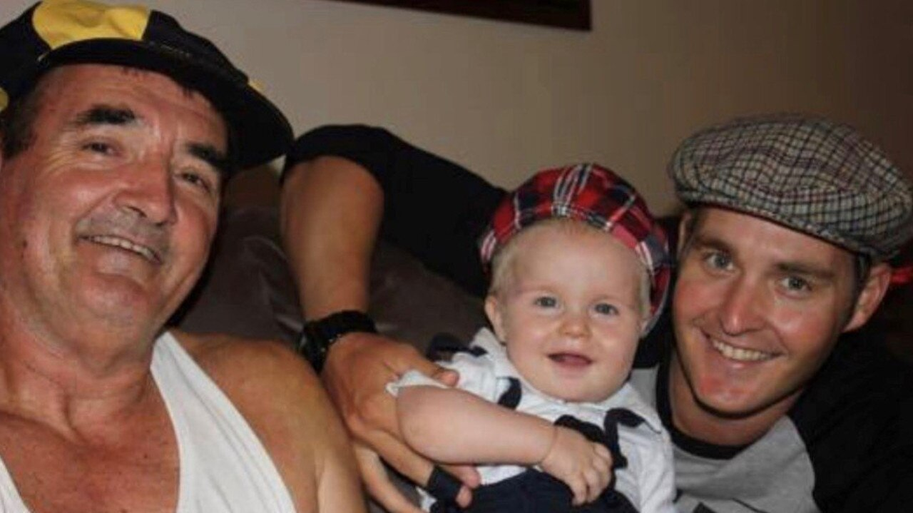 Mackay Waterski Club president Luke Van Den Heuvel (right) with his son Jackson and late father, John.