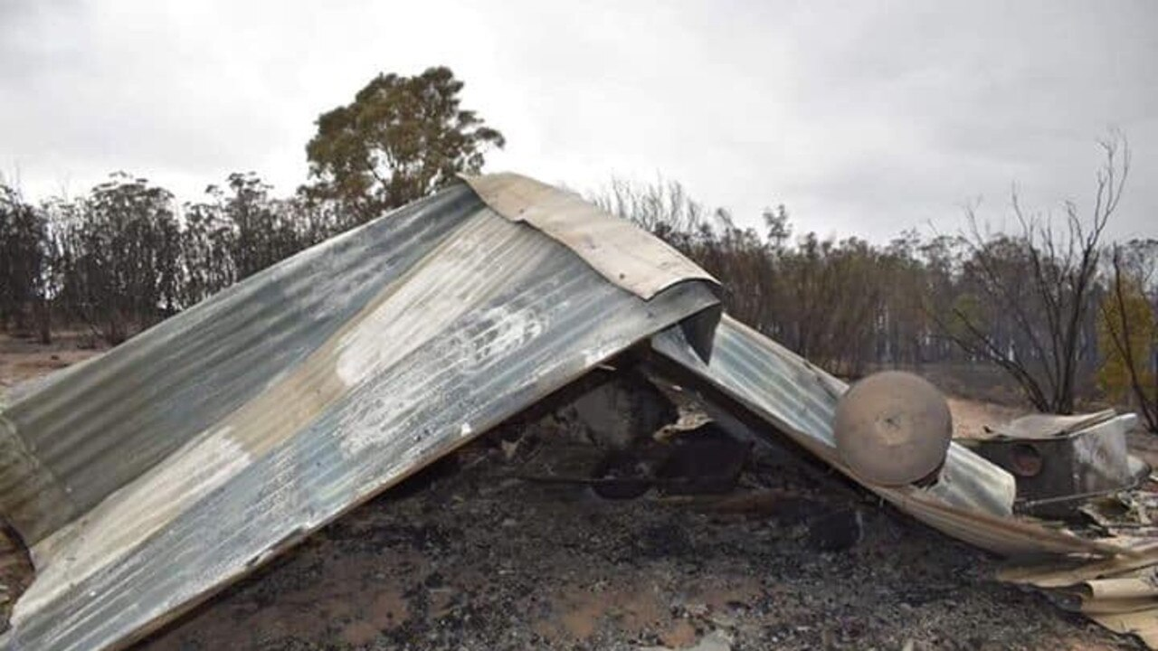 Lachlan Molnar and Hailey McAlpine's house was destroyed when the bushfire ripped through Sarsfield. Picture: Hailey McAlphine
