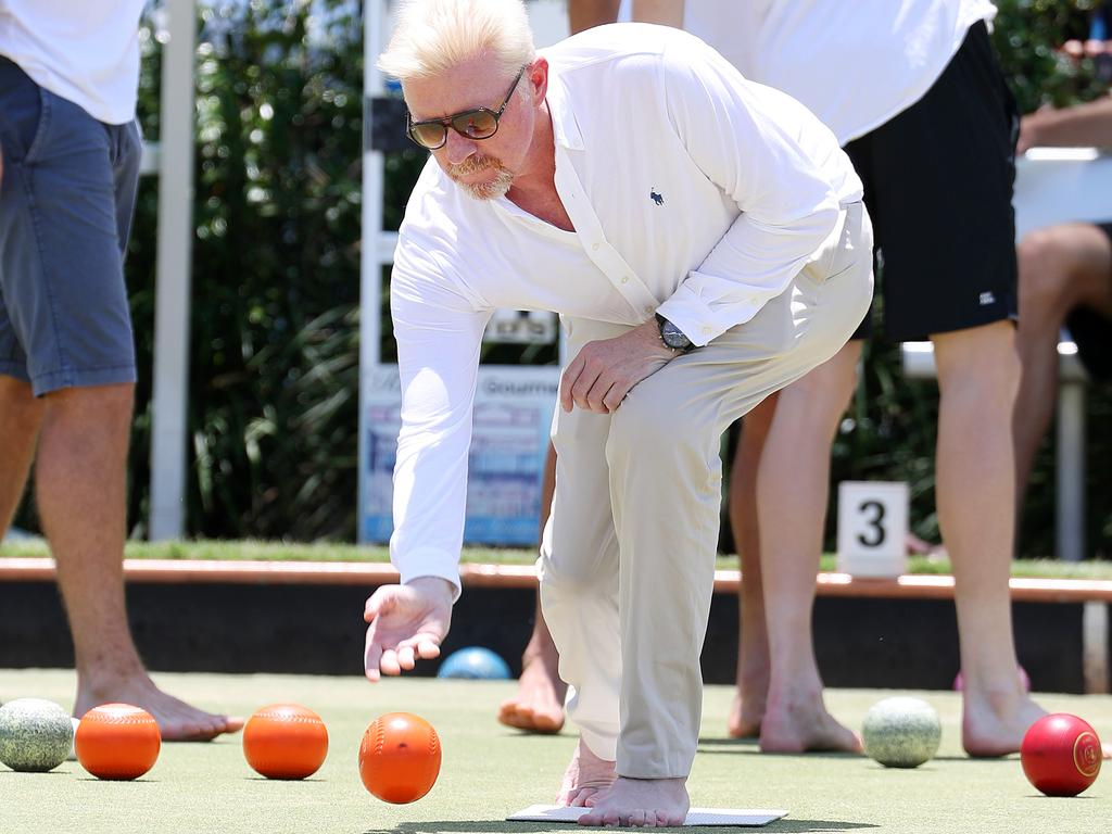 Boris Becker plays bare foot bowls. Picture: Liam Kidston