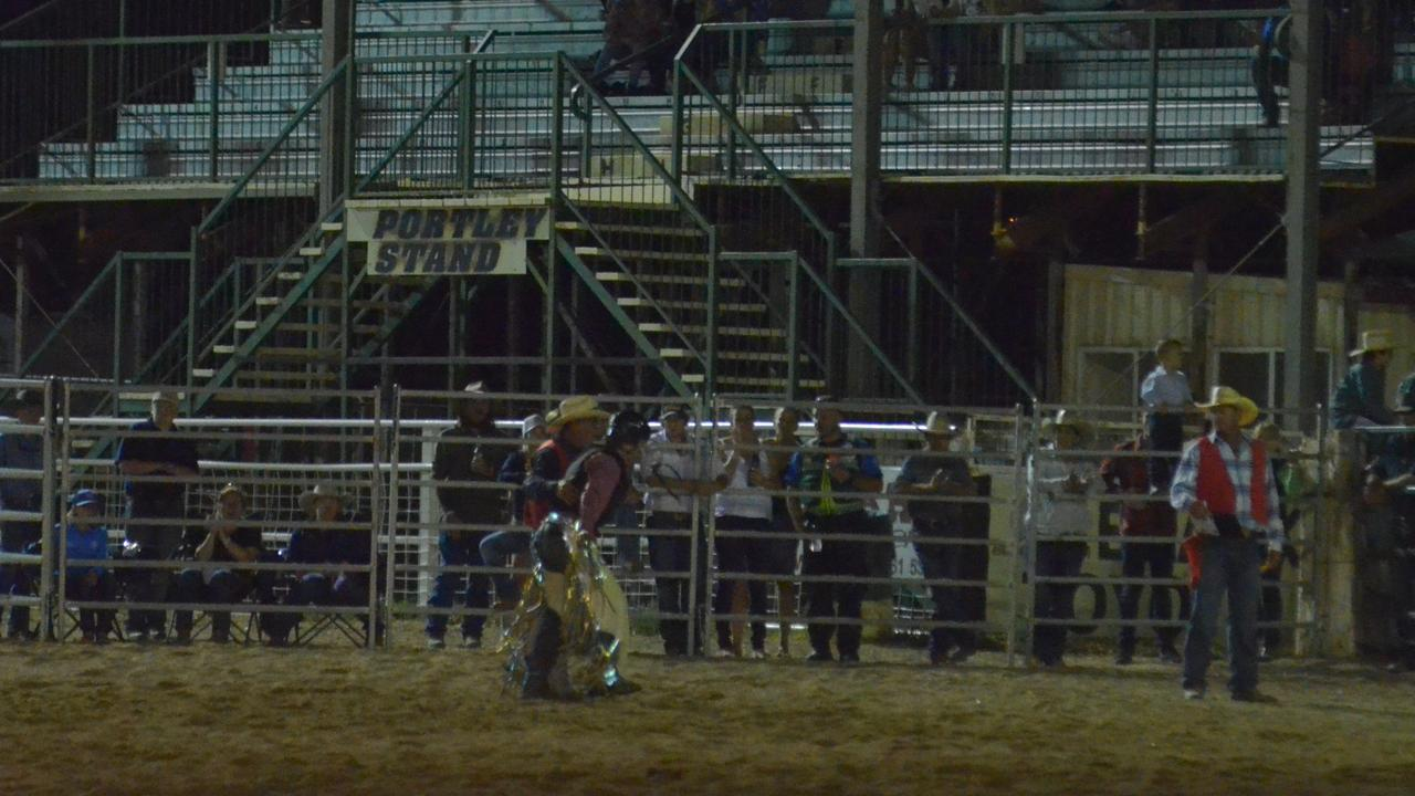 Warwick cowboy Jake Thompson was sent to Brisbane with a collapsed lung and ribs after falling from 600kg bull.