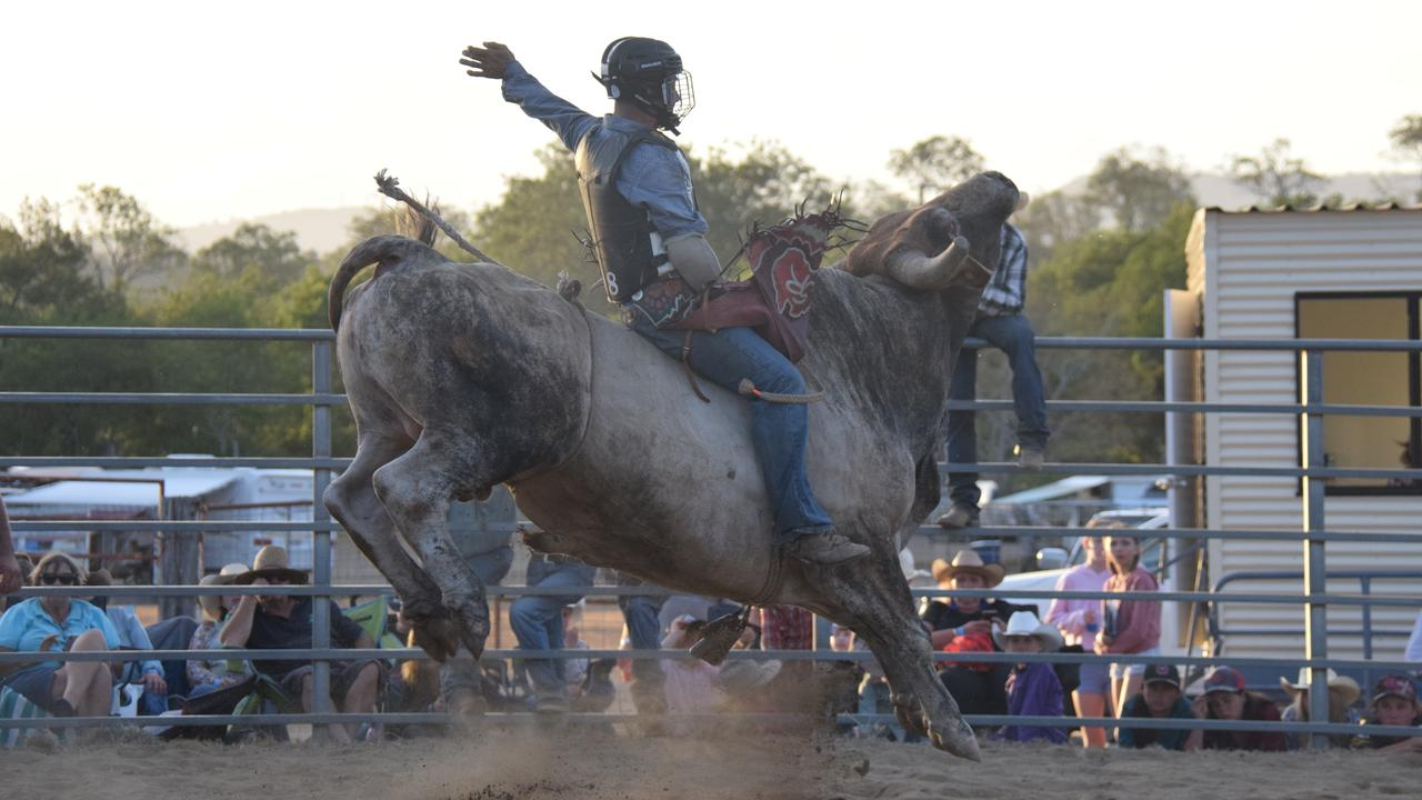 Five-time NRA bull ride champion Saras Ramsay in action. Photo: Tristan Evert