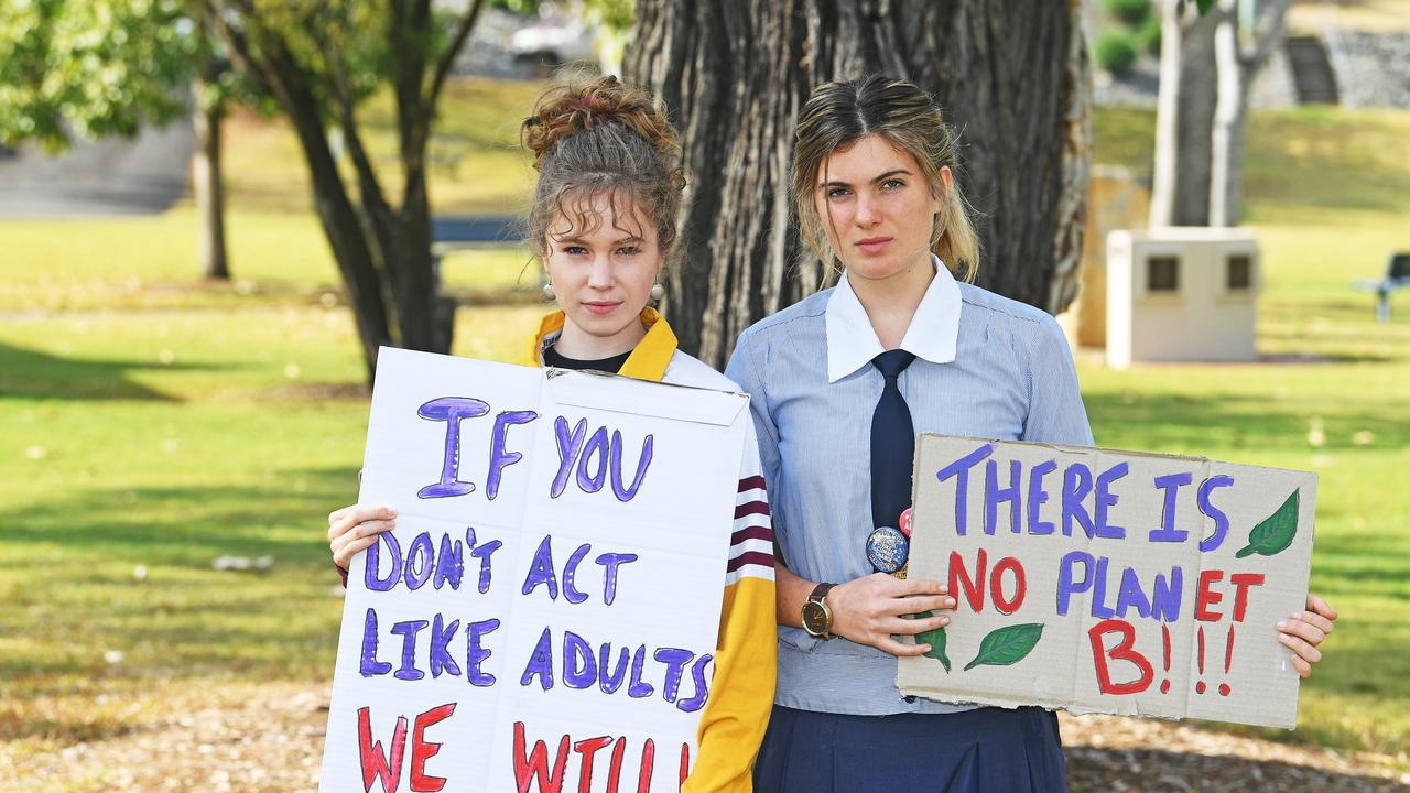 Gympie State High School student and St Patrick's College student Shellie Joseph and Echo Hunter-Demecs.