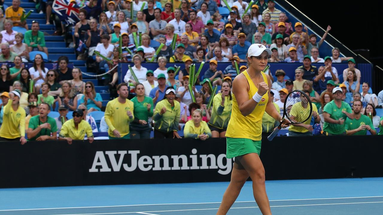 PERTH, AUSTRALIA - NOVEMBER 10: Ash Barty of Australia celebrates a point during the doubles match against Kristina Mladenovic and Caroline Garcia of France in the 2019 Fed Cup Final tie between Australia and France at RAC Arena on November 10, 2019 in Perth, Australia. (Photo by Paul Kane/Getty Images)