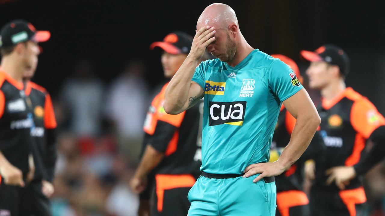 Brisbane Heat batsman Chris Lynn after the loss. Picture: Getty Images