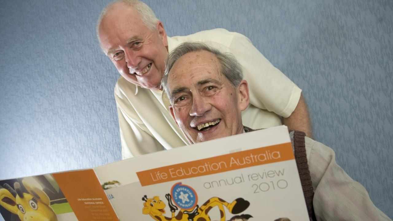 REMEMBERED: Builder and noted community servant Karl Hertle (right, with Life Education Queensland colleague Brian Shackleton) will be laid to rest today. Photo Kevin Farmer / The Chronicle