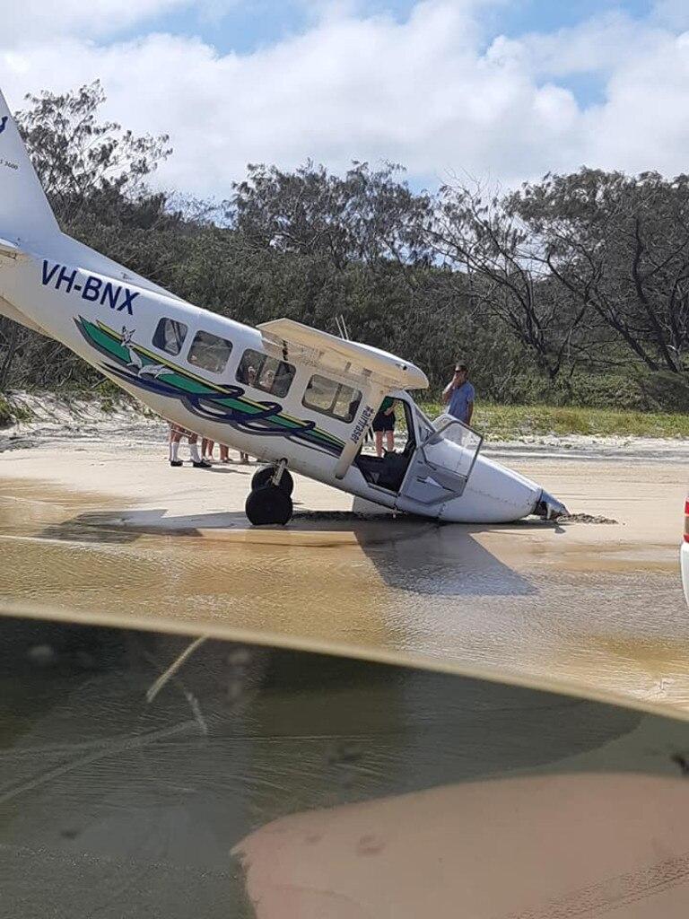 Light plane stuck in the sand near Eurong on Fraser Island. Photo: Kerri Ann via Facebook