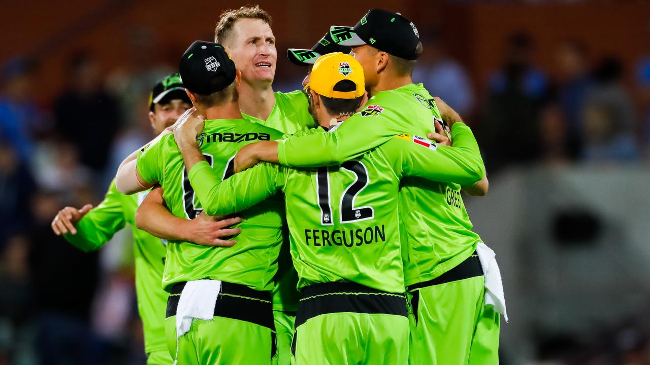Sydney Thunder celebrated a Big Bash win on New Year's Eve. Picture: Daniel Kalisz/Getty Images