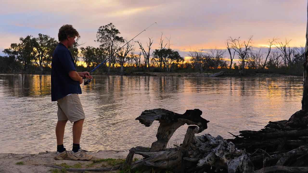 Andrew Koch from Maitland, fishing in the Murray River at Lock 5 near Renmark. Picture: Grant Schwartzkopff