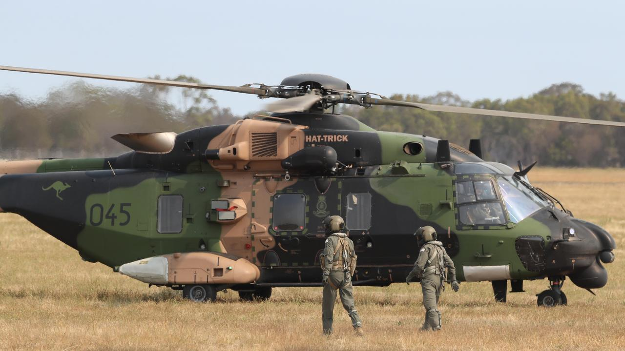 An MRH90 Taipan helicopter lands at Bairnsdale airport on January 2, 2020. Picture: David Crosling