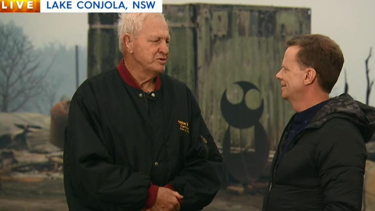 Ron Coote outside his destroyed home at Lake Conjola. Picture: 9News