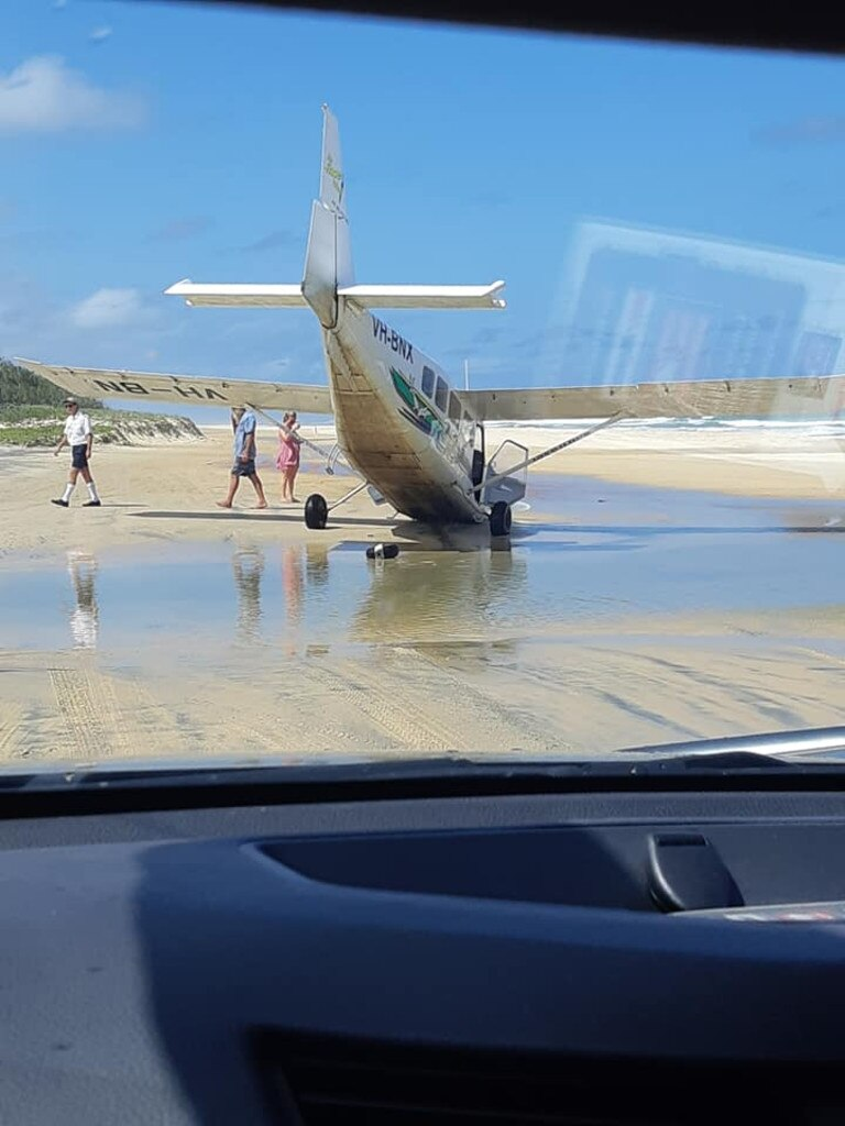 Light plane stuck in the sand near Eurong on Fraser Island. Photo: Kerri Ann via Facebook