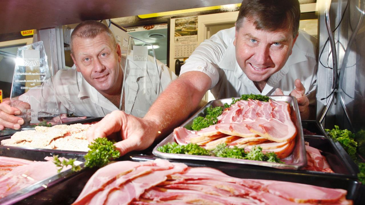 Peter and Paul Schulte at the butchery west of Brisbane. Picture; Sarah Harvey