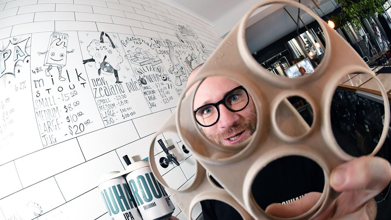 PEEK-A-BOO: Brouhaha has announced it will replace all its plastic can carriers with BioPak's beer rings. Pictured is marketing manager Toby Stodart. Photo: Patrick Woods