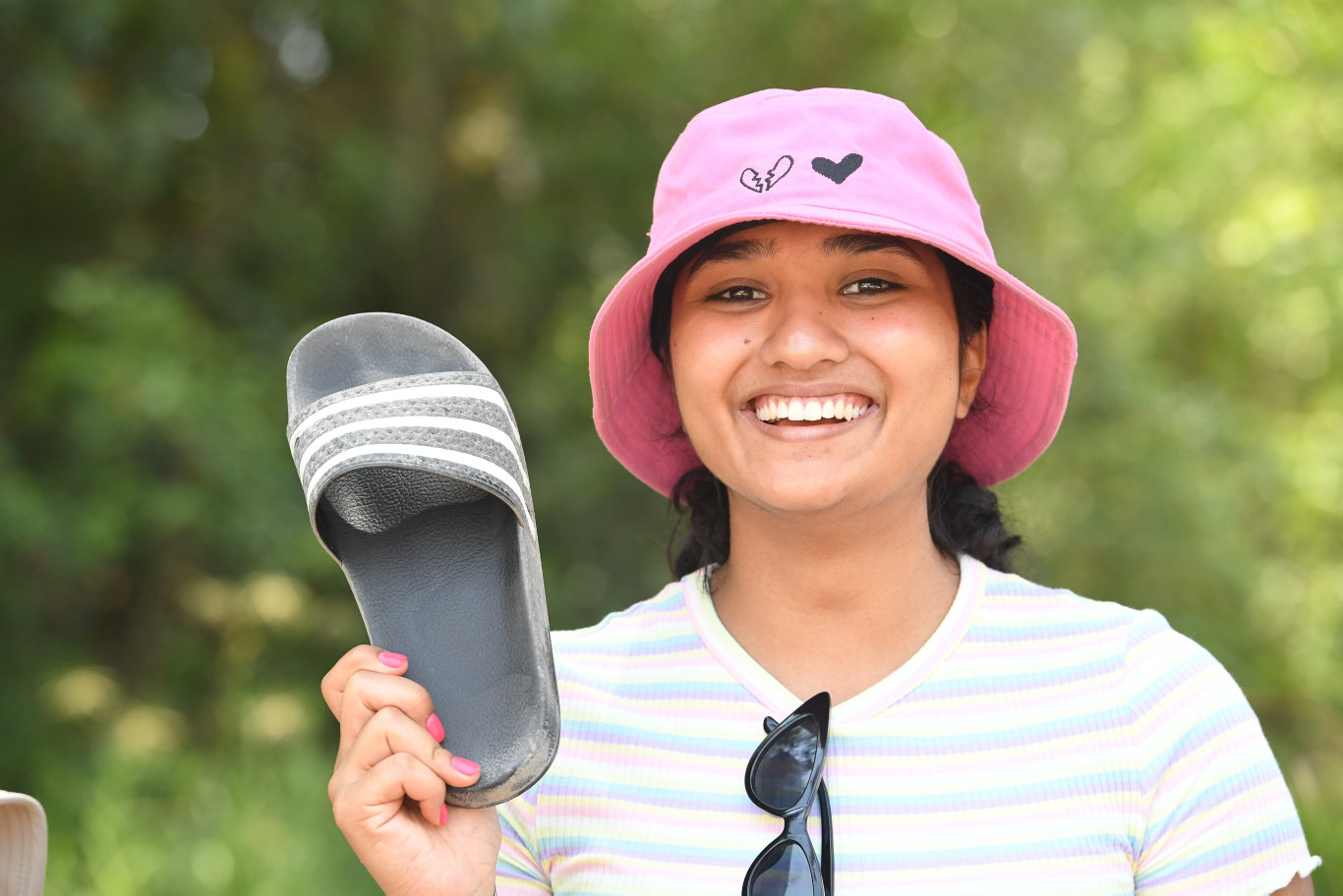 Trisha Chand, of Toowoomba, with her Addidas Slides at Falls Festival in Byron Bay.