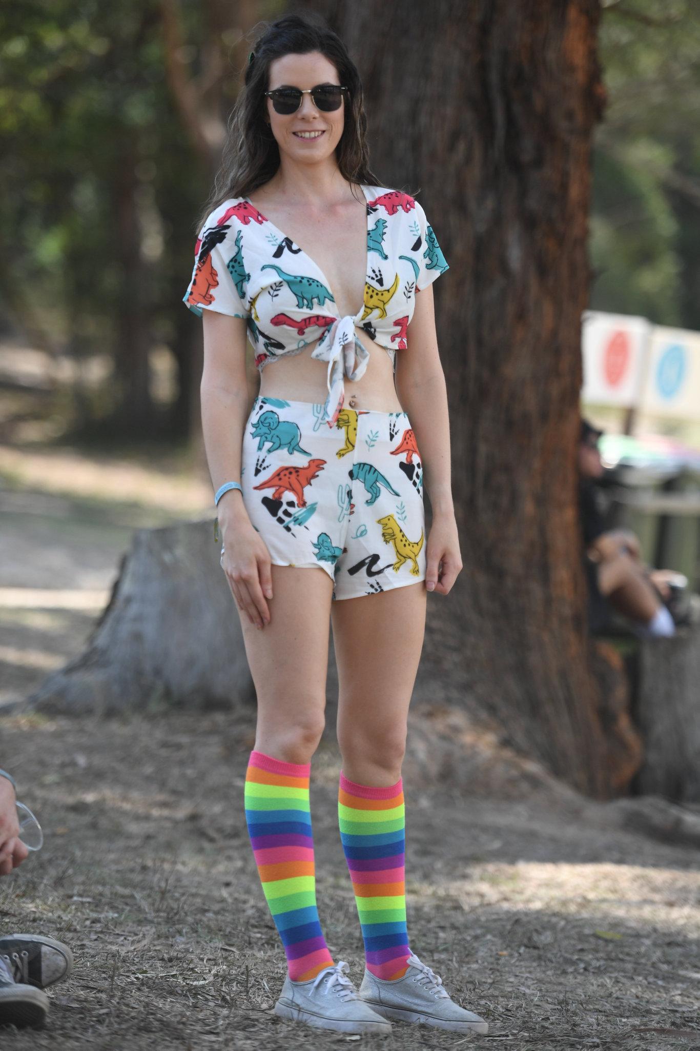 Danielle Stewart, of Brisbane, at Falls Festival with her multicoloured socks.