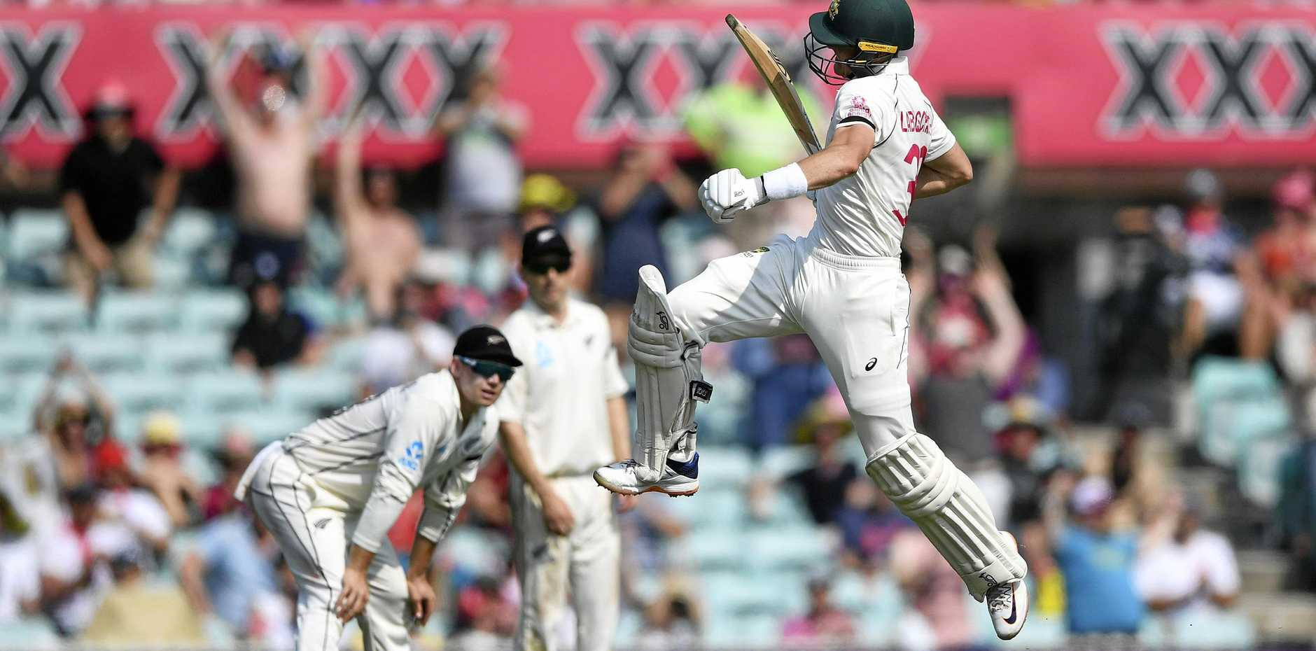 Marnus Labuschagne celebrates his century at the SCG on day one of the third Test between Australia and New Zealand. Picture: Andrew Cornaga/Photosport/AP