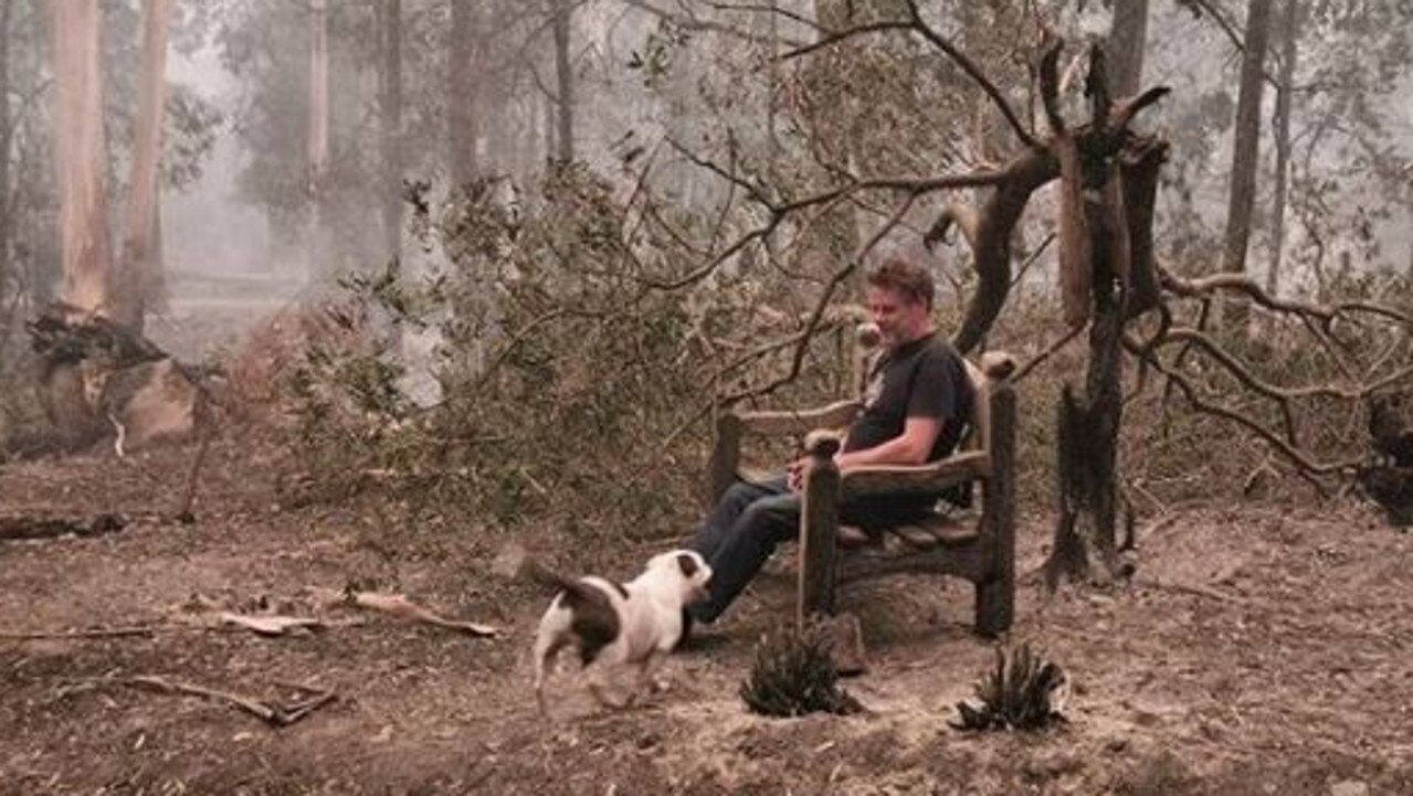India shared a photo of one of the benches on their property that survived the flames. Picture: Instagram