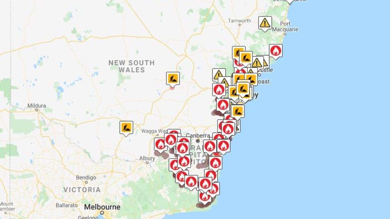 Map showing the extent of the crisis in NSW as of 1.33pm on Friday. Picture: Live Traffic.