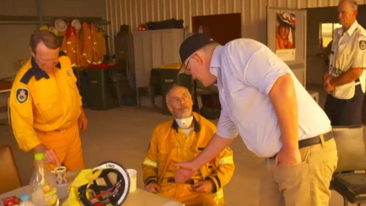 An RFS firefighter in NSW refuses to shake Australian Prime Minister Scott Morrison's hand. Picture: Supplied.