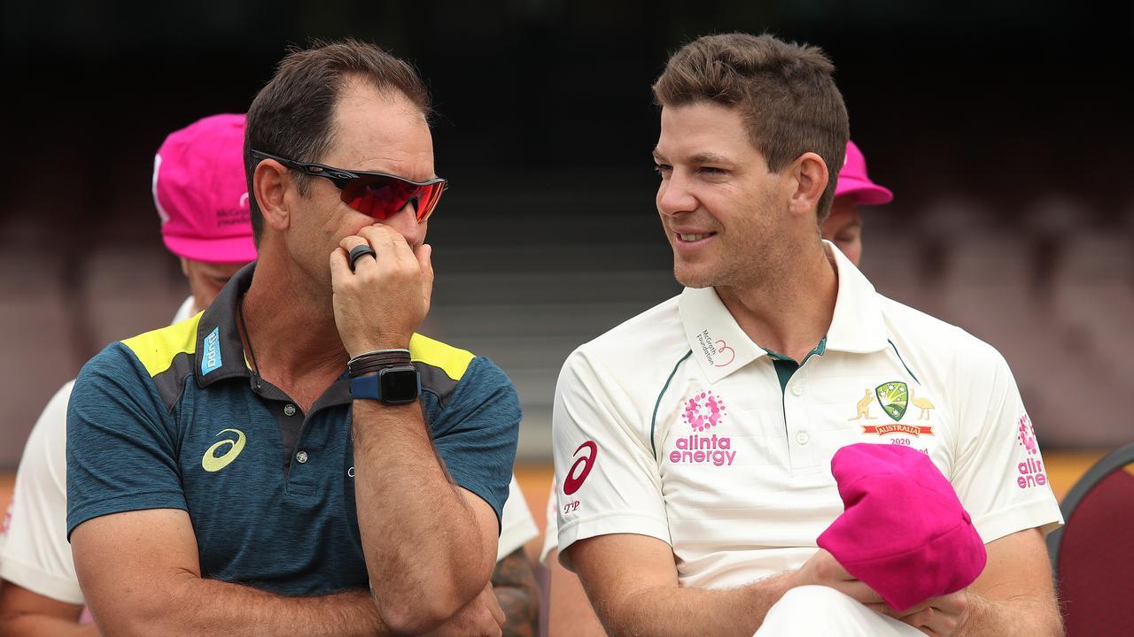 Australian cricket coach Justin Langer with skipper Tim Paine.