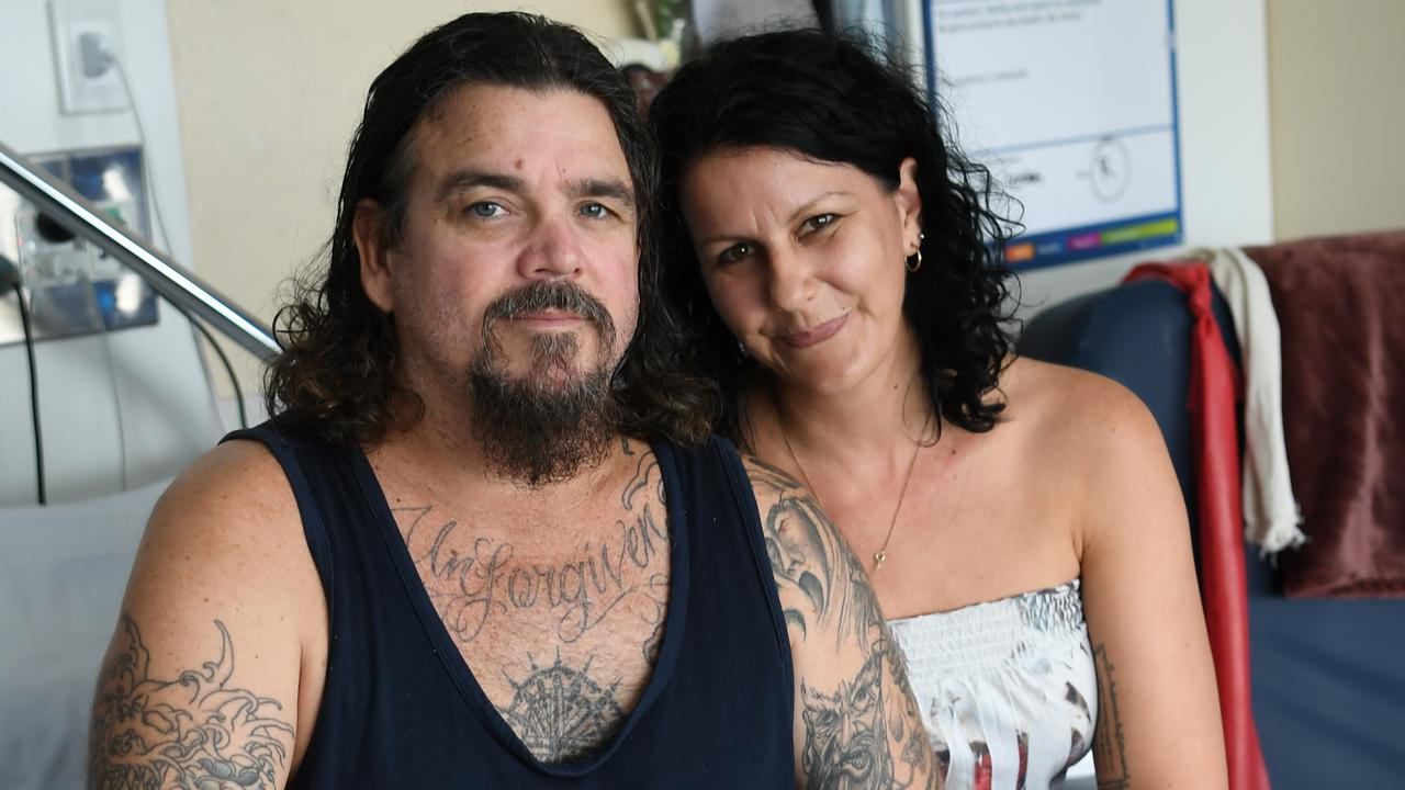 BACK HOME: Jason Mitchell and his partner Petra Davey preparing to be released from hospital.