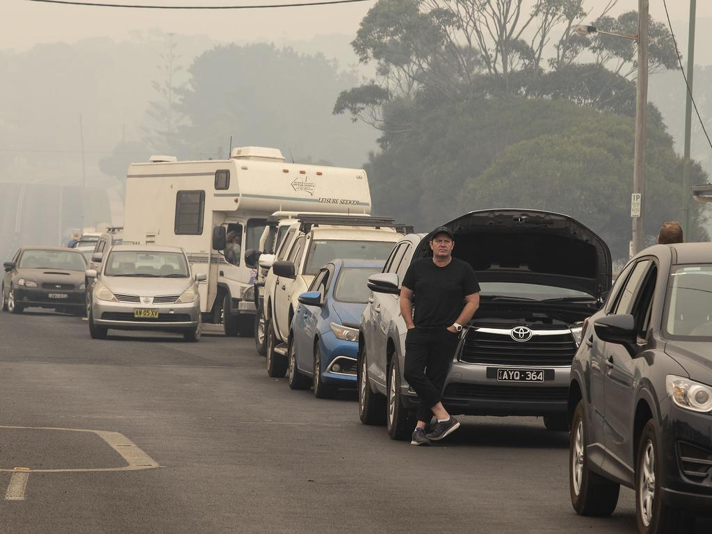 Thousands of people are evacuating the NSW south coast in what has been labelled a humanitarian crisis. Picture Gary Ramage