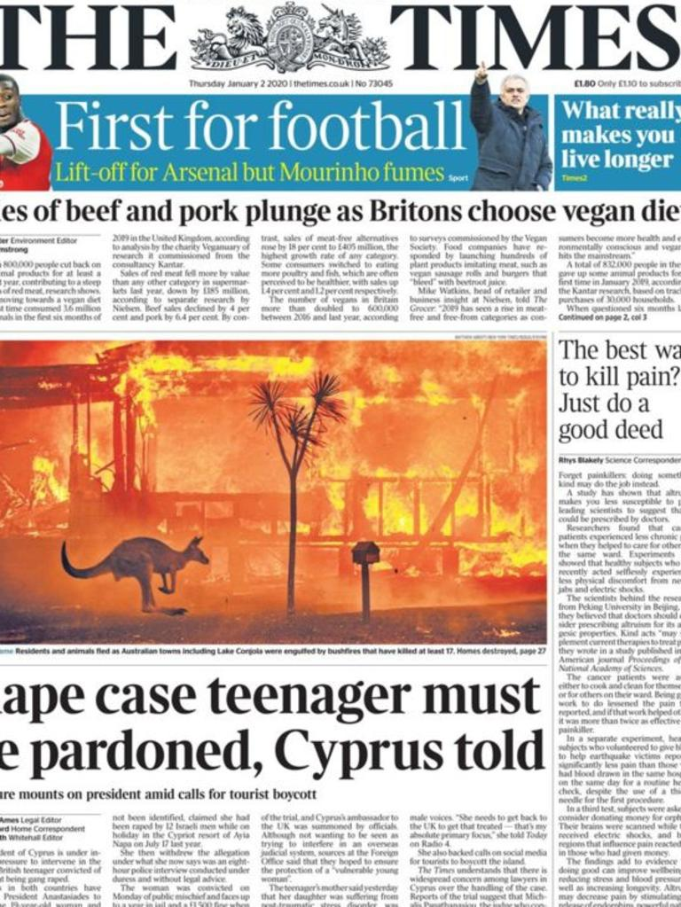 An image of the bushfires featured on the front page of UK newspaper The Times. Picture: Supplied