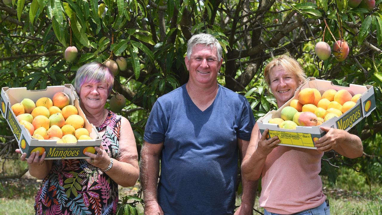 Marlene Owen, Farmer Brian Burton and Ruth Tramacchi. Marlene and Ruth are representatives of the Rainbow Beach Drought Runners.