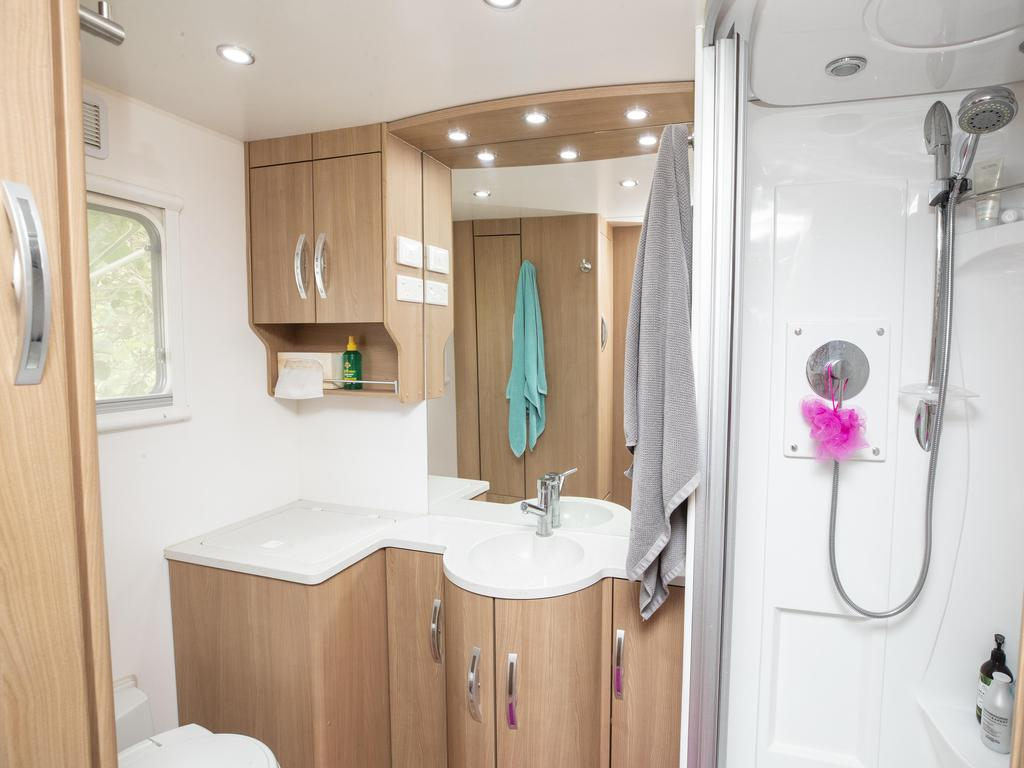 Ensuite bathroom inside Tom and Maree Young's caravan. Picture Lachie Millard