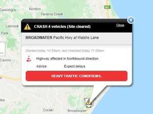 Four car crash creates heavy traffic on highway