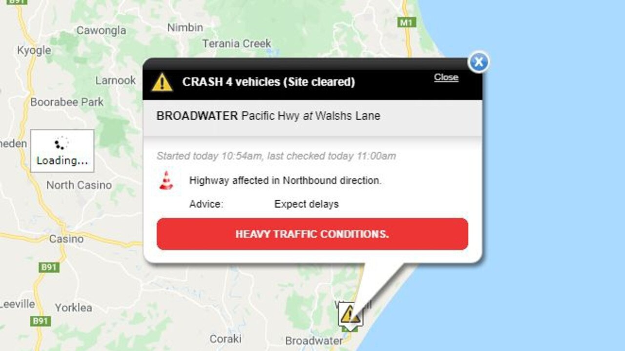 A four car accident has occurred on the Pacific Highway at Broadwater.