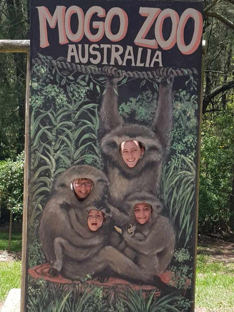 Dominiques children Jet, Mia, Lily and Darcie at Mogo Zoo last year. The children won't get another chance to see it.