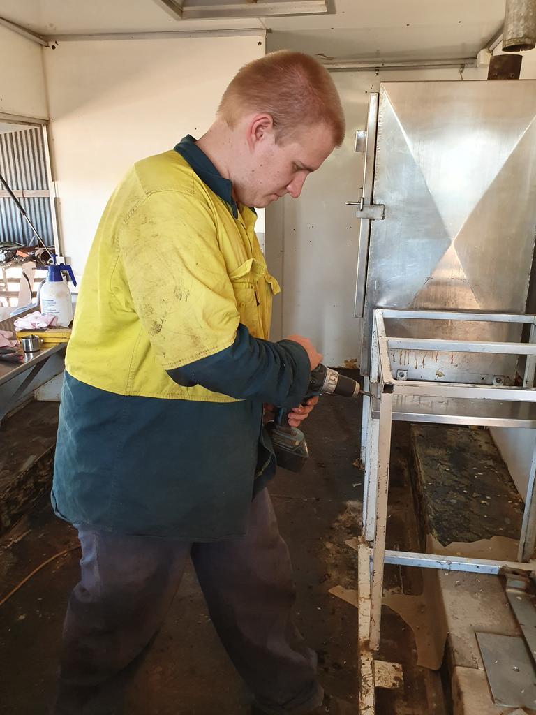 Michael Mangan revamps the Nanango Pie Van. Picture: Lyn Mangan