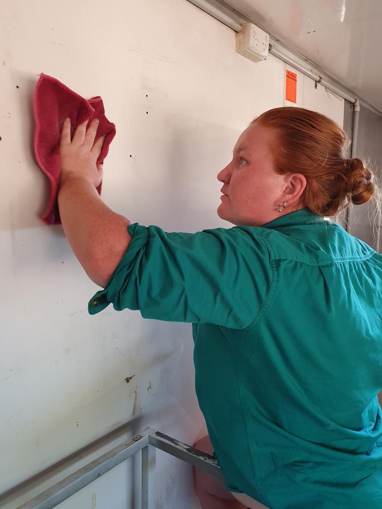 Leanda Mangan making progress on the Nanango Pie Van. Picture: Lyn Mangan