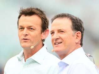 MELBOURNE, AUSTRALIA - NOVEMBER 01: Adam Gilchrist and Mark Waugh commentate during game three of the Men's International Twenty20 match between Australia and Sri Lanka at Melbourne Cricket Ground on November 01, 2019 in Melbourne, Australia. (Photo by Quinn Rooney/Getty Images)