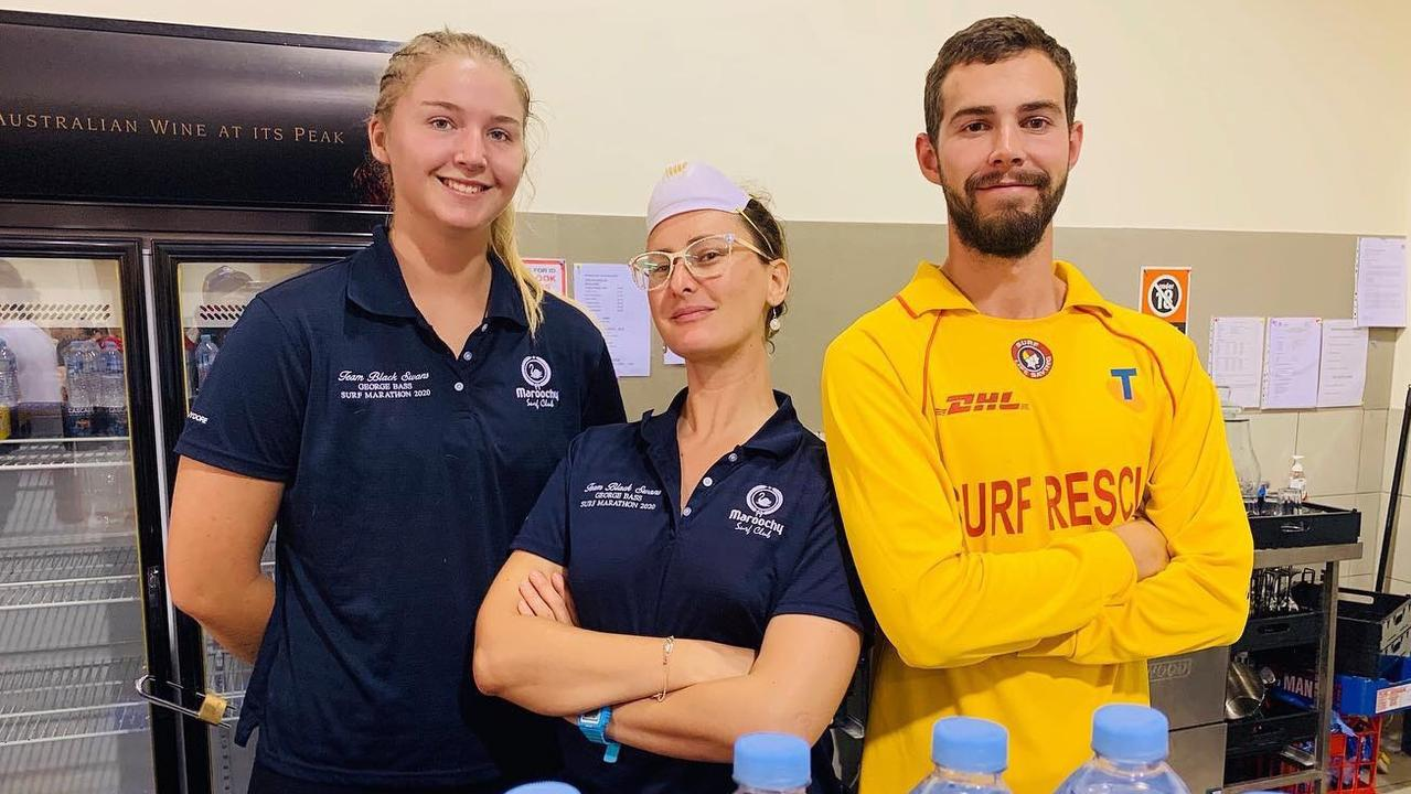 Natalie Dean and Tiffany Porter from Maroochydore SLSC assisted Bermagui surf lifesavers with water distribution to over 5000 evacuees throughout the day.