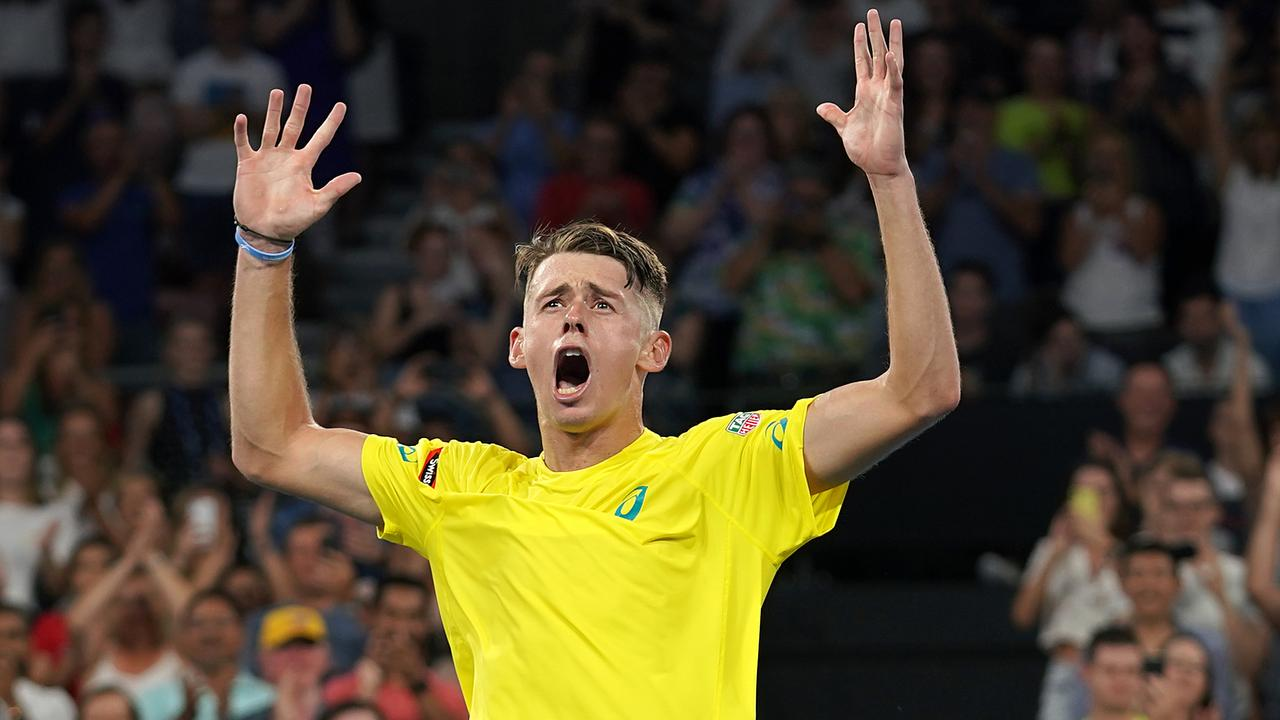 Alex de Minaur celebrates his win over Germany's Alexander Zverev. Picture: AAP