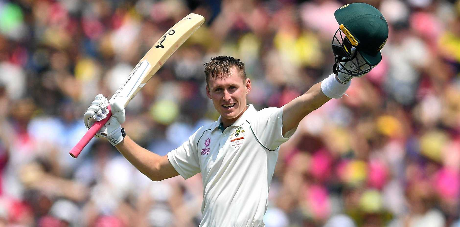 Marnus Labuschagne acknowledges the crowd's applause after reaching 200. Australia then lost a flurry of wickets to be bowled out for 454 with Neil Wagner claiming three wickets. Picture: Dan Himbrechts/AAP