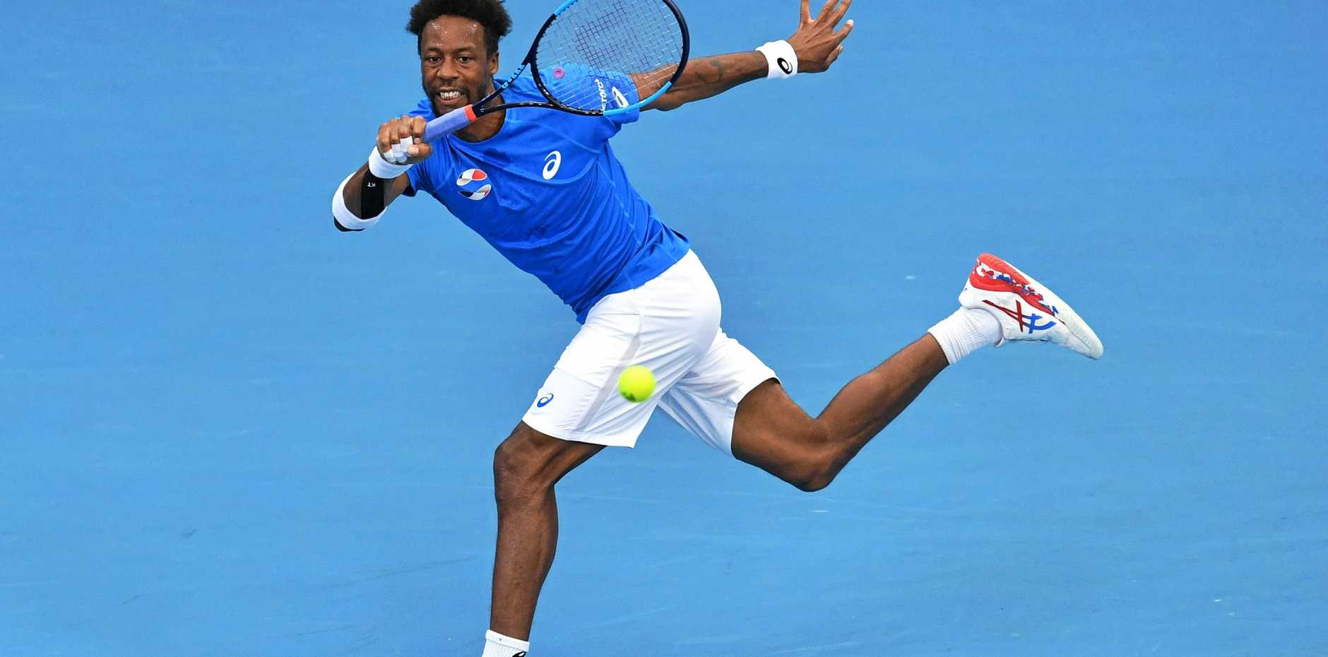 France's Gael Monfils in action against Chile's Cristian Garin on Saturday at the ATP Cup tennis tournament at Pat Rafter Arena, Brisbane. Picture: Darren England/AAP