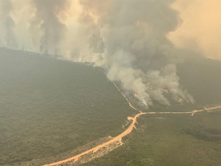 Aerial photo of the fire at Ravine on Kangaroo Island. Picture CFS