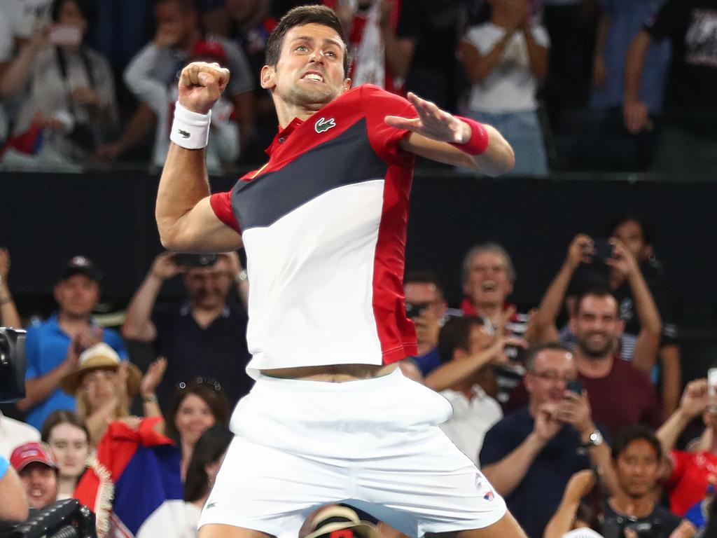 Serbia's Novak Djokovic celebrates his win over South Africa's Kevin Anderson. Picture: Getty Images