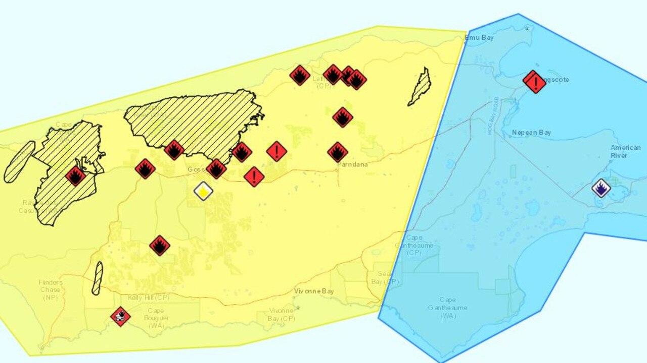 The bushfire warnings for Kangaroo Island as of 7.30am.