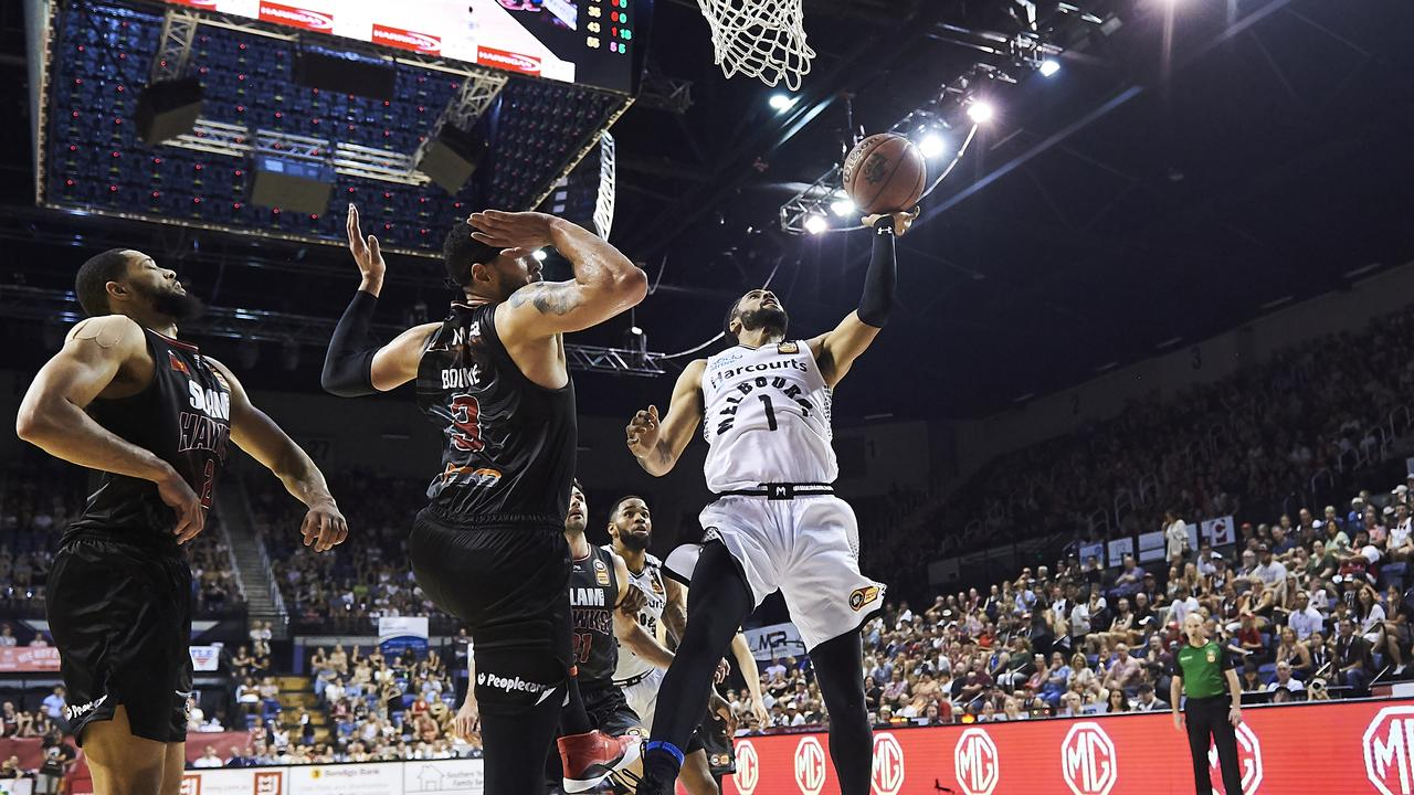 Melbourne United's Melo Trimble drives to the basket.