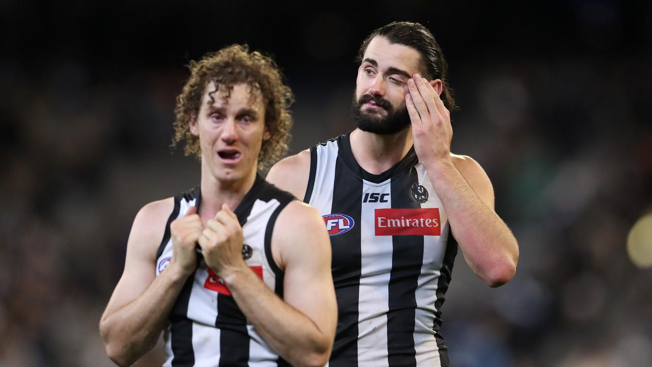 Chris Mayne and Brodie Grundy after last year's preliminary final. Picture: Michael Klein.