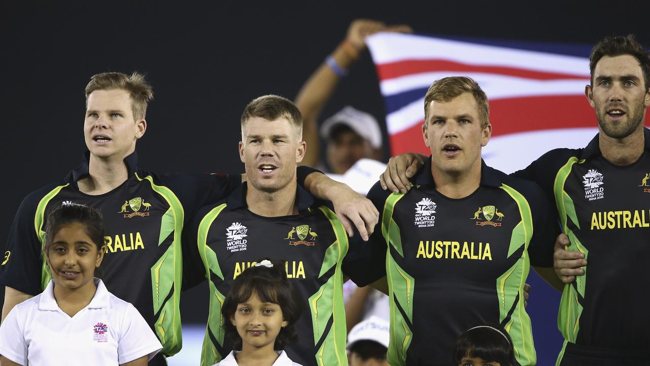 Steve Smith (left) usurped Aaron Finch as captain at the T20 World Cup in 2016. Picture: Ryan Pierse/Getty